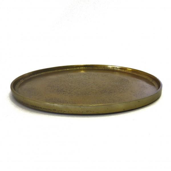 Tablett Untersetzer Kerzentablett Platte Deko Schale Rund Gold Modern Metall Colmore 26 cm